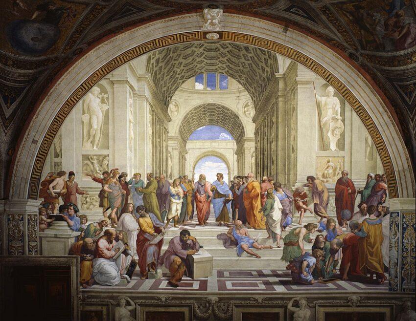 """Das Bild zeigt Raffaels berühmtes Gemälde """"Die Schule von Athen"""" mit Sokrates links hinten."""